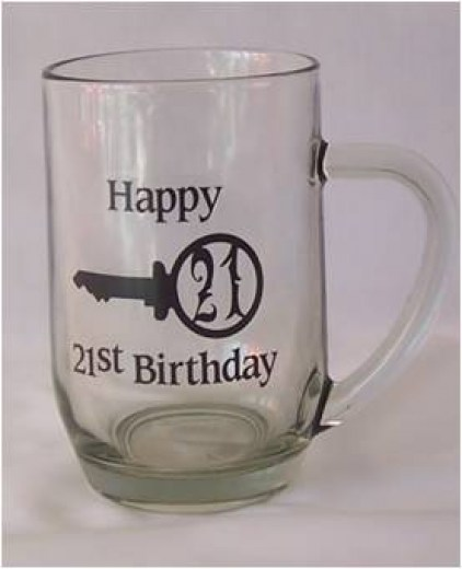 21st GLASS BEER MUG WHT