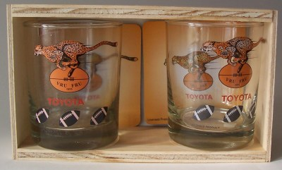CHEETAHS GLASS & COASTERS SET