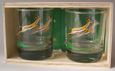 SA RUGBY GLASS & COASTERS SET